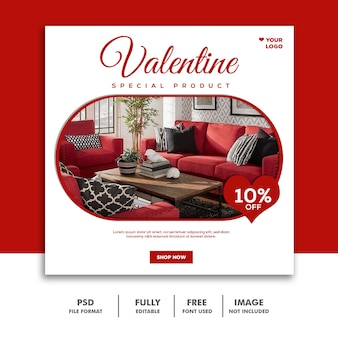 Bannière de la saint-valentin social media post instagram furniture red