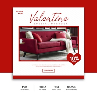 Bannière de la saint-valentin social media post instagram furniture sale
