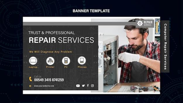 Bannière de services de réparation d'ordinateurs et de téléphones