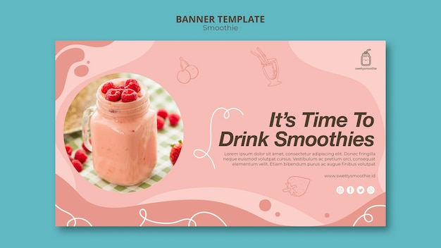 Bannière de smoothie frais avec photo