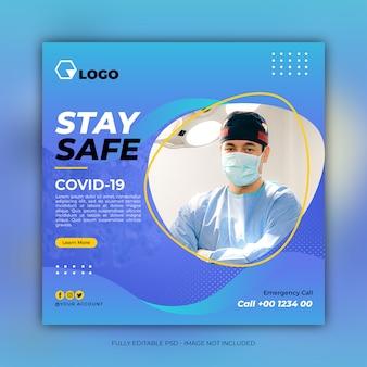Bannière de soins de santé avec prévention des coronavirus
