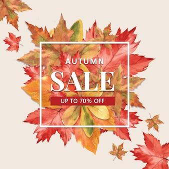 Bannière sur le thème de l'automne avec cadre de bordure