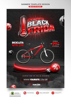 Bannière vendredi noir rendu 3d pour les campagnes marketing au brésil en portugais