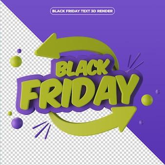 Bannière de vendredi noir de rendu 3d
