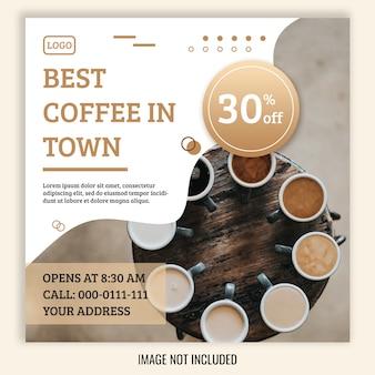 Bannière de vente carrée pour instagram, thème de café
