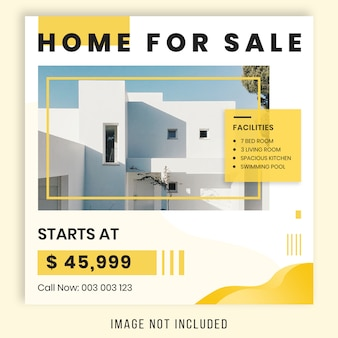 Bannière de vente carrée pour instagram, thème de l'immobilier