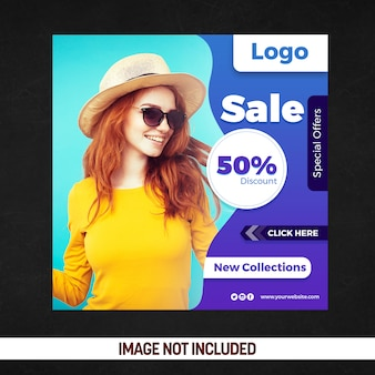 Bannière de vente carrée pour les nouvelles collections
