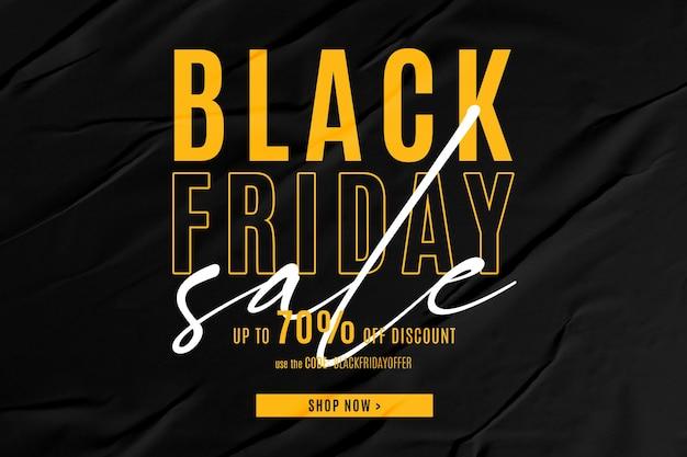 Bannière de vente du vendredi noir sur fond peint en acrylique jaune