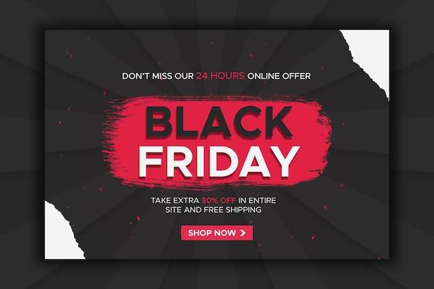 Bannière de vente du vendredi noir avec modèle web d'arrière-plan et conception de médias sociaux