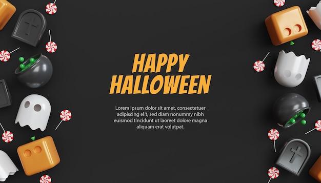Bannière de vente halloween avec texte sur bois et fond transparent
