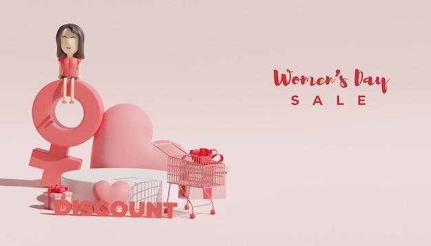 Bannière de vente de jour de la femme de rendu 3d avec illustration de podium