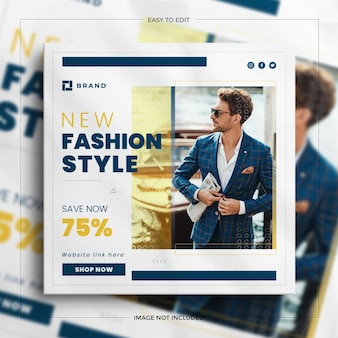 Bannière de vente de médias sociaux carré de vente de mode colorée pour l'histoire d'instagram avec une maquette propre