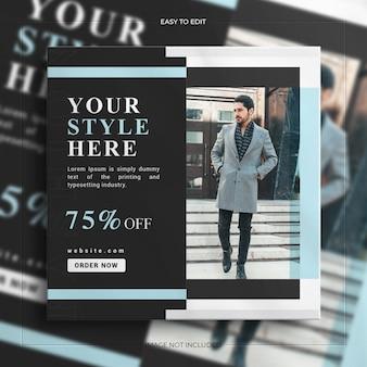 Bannière de vente de médias sociaux carré de vente de mode pour le modèle d'histoire instagram