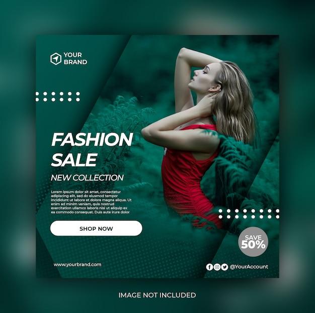Bannière de vente de mode tosca ou flyer carré pour le modèle de publication sur les médias sociaux
