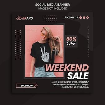 Bannière de vente de mode week-end