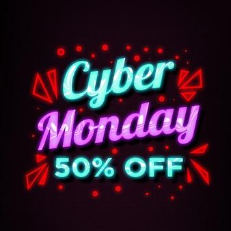 Bannière de vente de neon style cyber monday