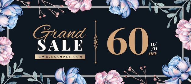 Bannière de vente de printemps avec décoration florale dessinée à la main