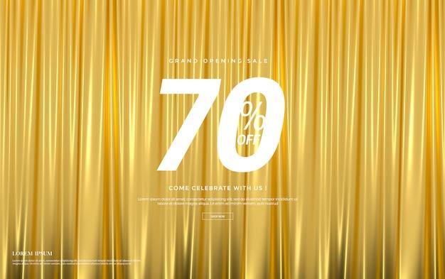 Bannière de vente avec des rideaux de luxe en velours de soie dorée.