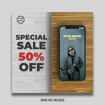 Bannière de vente spéciale avec maquette d'écran de smartphone