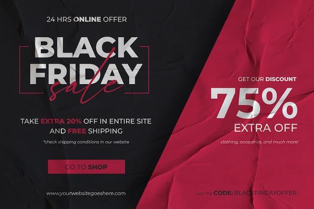 Bannière de vente vendredi noir avec fond de papier collé rouge et noir