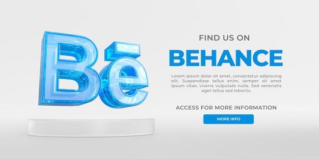 Bannière en verre acrylique behance avec rendu 3d transparent