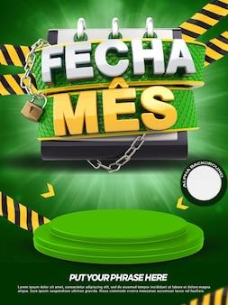 Bannière verte 3d avec podium ferme les magasins de promotion du mois dans la campagne générale au brésil