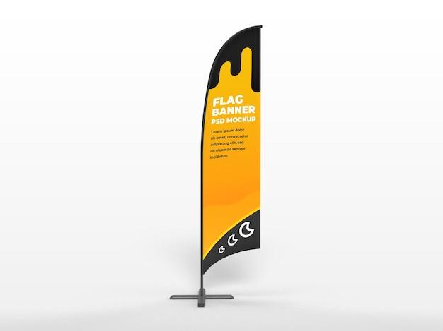 Bannière verticale de drapeau réaliste et maquette de campagne de marque vue de face