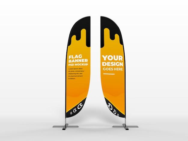 Bannière verticale de drapeau réaliste et maquette de campagne de marque