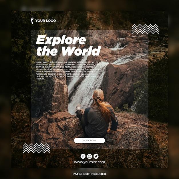 Bannière de voyage aventure tours instagram post ou modèle de bannière carrée