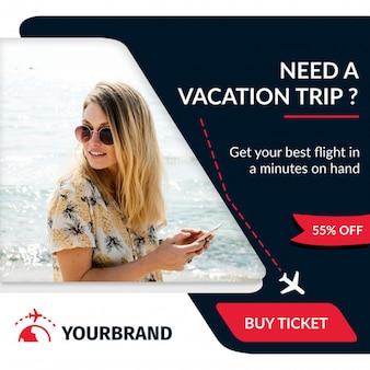 Bannière de voyage et de tourisme