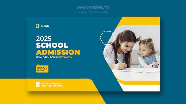 Bannière Web D'admission à L'école Ou Modèle De Bannière Sociale PSD Premium