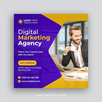 Bannière web de l'agence de marketing numérique ou publication sur les réseaux sociaux
