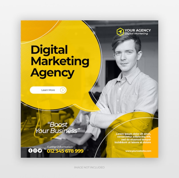 Bannière web carré de marketing d'entreprise numérique