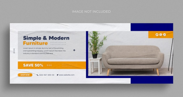 Bannière web instagram de médias sociaux de vente de meubles ou modèle de flyer carré