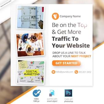 Bannière web sur le marketing des médias sociaux
