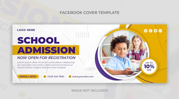 Bannière web de médias sociaux d'admission à l'école et modèle de conception de couverture facebook