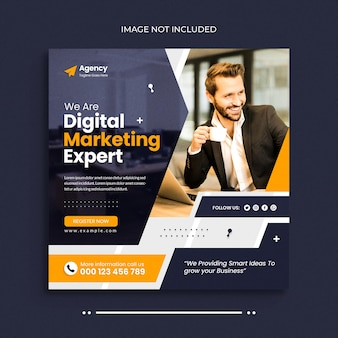 Bannière web de médias sociaux d'agence de marketing numérique et modèle de publication de bannière instagram
