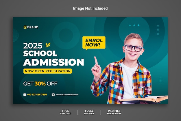 Bannière web promotionnelle d'admission à l'école ou modèle de bannière de médias sociaux