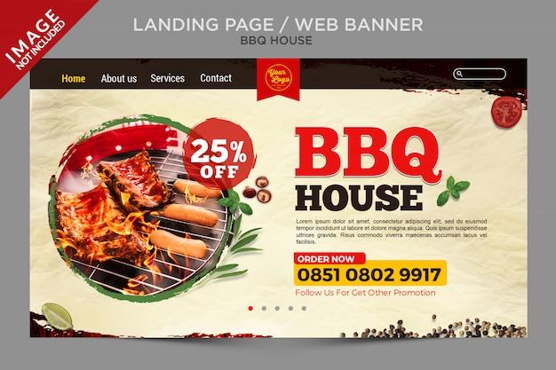 Bannière web ou série de pages de destination bbq house