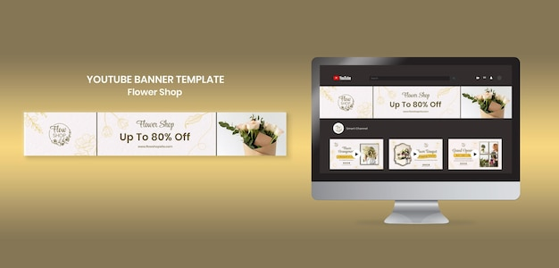 Bannière youtube du magasin de fleurs