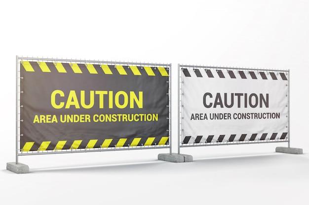 Bannières publicitaires extérieures sur la maquette de la barrière métallique