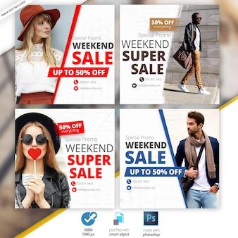 Bannières sociales de vente de mode