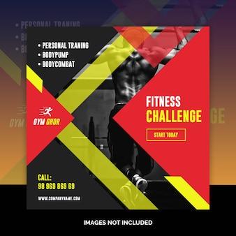 Bannières web de gym fitness médias sociaux