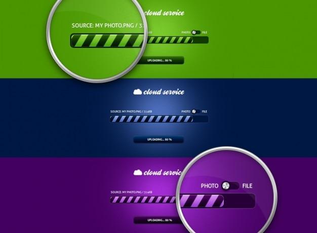 Barre de boutons nuage nuageux freebie barre de progression progrès psd violet service de téléchargement