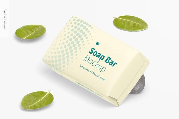 Barre de savon avec maquette d'emballage en papier, perspective
