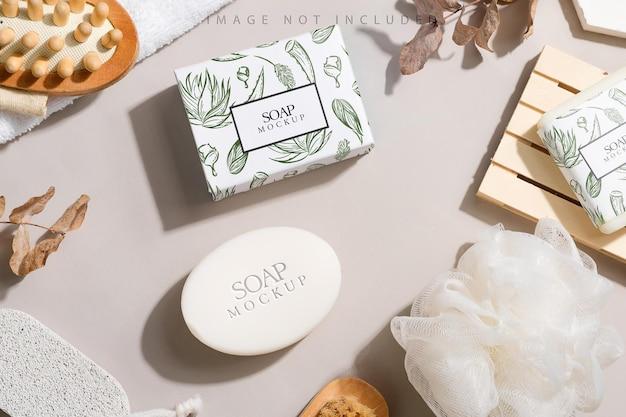 Barres de savon et maquette de boîte