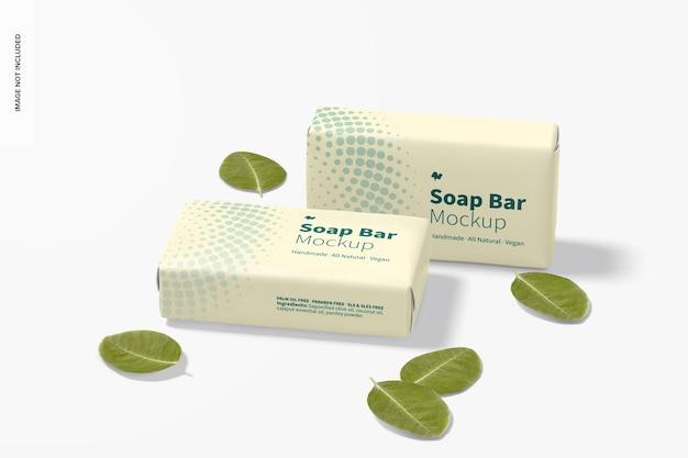Barres de savon avec maquette d'emballage en papier, abandonnées