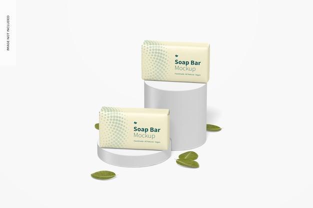 Barres de savon avec maquette d'emballage en papier, vue de face