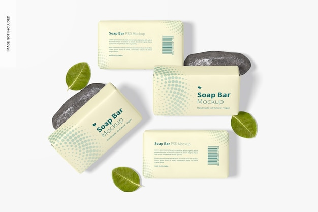 Barres de savon avec maquette d'emballage en papier