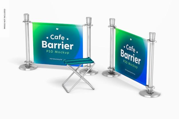 Barrières de café avec maquette de chaise pliante